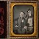 P.T. Barnum and General Tom Thumb.  Half-plate daguerreotype.  Circa 1850.
