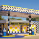 French artist Camille Walala converted a vintage gas station into a colorful Arkansas Landmark.