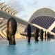 """This piece, entitled """"Seven Sculptures at Calatrava's City of Arts and Sciences,"""" was exhibited by Jaume Plensa from June to November in Valencia, Spain."""