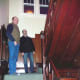 John and Rob on one of the two staircases in the home.