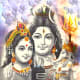 Shiva-Parvati and the Shiva Lingam by unknown artist, photographed and retouched by Vinaya