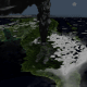 A simulation of the Toba eruption, which occurred 74,000 years ago.