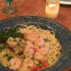 Your shrimp and pasta is ready to be served