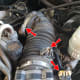 Mass air flow tubing:  remove wires, tighten screw clamp