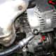 Alternator pivot bolt and adjustment bolt.