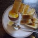 Boiled egg with toasted soldiers.