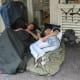 Homeless people in Paris, France.