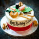 A birthday cake decorated with a theme of Japanese food.