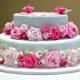Pink rose birthday cake.