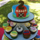 Barnyard-themed cupcake tower.