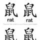 "Here is a page with the Chinese and English words for ""rat"" written four times. Children can cut these words out and paste them next to a drawing they have made of a rat."