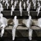 Ice sculptures (around 1,000) by Brazilian artist Nele Azevedo melt on the steps of Berlin's Concert Hall at the Gendarmenmarkt.