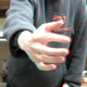 3D hand coming out of the screen. View with red cyan 3D glasses.