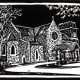 Linocut titled Medieval Inspiration by Peggy Woods - Our Lady of Walsingham Church in Spring Branch, Texas