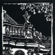 Linocut of St. Blasien in southern Germany created by Peggy Woods