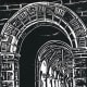 Linocut titled Arches to Enlightenment by Peggy Woods - Rice University in Houston, Texas