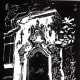 Linocut titled Los Patios created by Peggy Woods