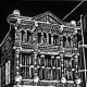 Linocut of Trueheart-Adriance Building in Galveston, Texas created by Peggy Woods