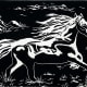 """""""Running Free"""" linocut by Peggy Woods"""
