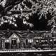 Old Katy Depot linocut by Peggy Woods