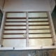 Slats upcycled from an old louvre door being used as drawer dividers