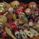 Some of my vintage ornaments and light bulbs are placed on a tray, and people love examining them.