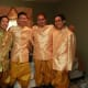 My husband with his wedding party after the hair-cutting ceremony.
