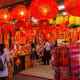 Festive seas of auspicious red are very common during Chinese New Year in Singapore.