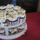 Cupcakes were topped with marshmallows and heated with the blow torch to give it a popcorn appearance.