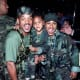 Will Smith with his son and wife Jada at 1996's Independence Day premiere.