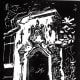 My linocut of Old Katy Railroad Window now located at Los Patios