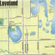 Map of Loveland showing the water elements within the town. Noted are the locations of Benson and North Lake Park.