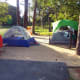 Same standard campsite with 1 pop-up tent that sleeps 4 and 1 pop-up that sleeps 6-8. More than enough room left for comfort.