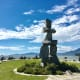 A view of the inukshuk and the bay