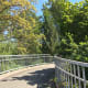 The first part of the pedestrian overpass bridge is bordered by plants and is attractive.