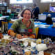 Elisa with a gorgeous display of gemstones for sale at the 2010 exhibition.