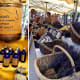 Left: lavender oils from a local distiller. Right: more essential oils and lavender products for sale.