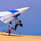 Hang Glider taking off at Jockey's Ridge State Park on the Outer Banks of North Carolina