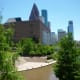 Downtown Houston as seen from the George H.W. Bush monument.