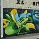 Colorful graffiti mural across from Baldwin Park