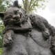 Closeup of the Cheshire Cat on the Wonderland Sculpture