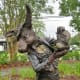 Closeup of the March Hare on Wonderland Sculpture