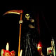 Shrine to Santisima Muerte of Mexico, a Pagan death Goddess/Catholic Saint synchretic deity.