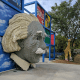 Albert Einstein greets guests at the Imagination Zone.