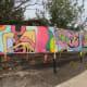 Graffiti art at entrance to the skatepark