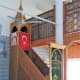 Two flags in the mosque.