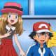 Serena (pre-haircut), Ash, and Pikachu