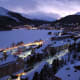 St. Moritz on a winter evening. The St. Moriz lake is frozen.
