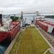Ships passing through the Soo Locks - Sault Ste. Marie, Michigan