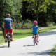 Bicyclists on the paved trail